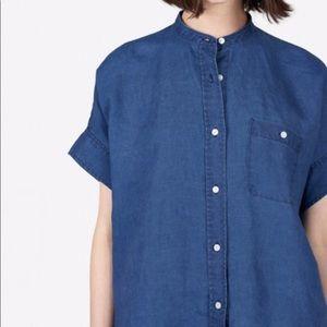 Everlane collarless short sleeved box shirt